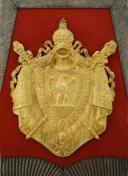 Photo 5 : SABRETACHE DU CHEF DE MUSIQUE PIERRE MAROTEL DU REGIMENT DES CHASSEURS À CHEVAL DE LA GARDE IMPERIALE, Second Empire (1852-1865).