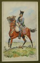 Photo 1 : ROUSSELOT LUCIEN : AQUARELLE ORIGINALE REPRÉSENTANT UN HUSSARD DU 3ème RÉGIMENT, PREMIER EMPIRE.
