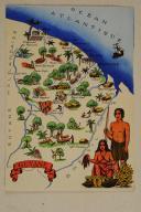 Carte postale mise en couleurs représentant la région de la «GUYANNE».