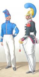Photo 2 : 1820. Carabiniers de Monsieur. Officier, Maréchal des Logis-Chef, Maréchal des Logis-Trompette.