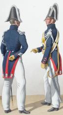 Photo 2 : 1830. Gendarmerie Royale des Départements. Lieutenant, Maréchal des Logis à Cheval, Trompette.