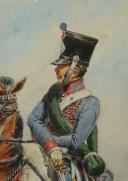 ROUSSELOT LUCIEN : AQUARELLE ORIGINALE REPRÉSENTANT UN HUSSARD DU 3ème RÉGIMENT, PREMIER EMPIRE. (5)