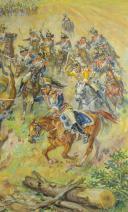 LELIEPVRE EUGÈNE : CHARGE DU GÉNÉRAL LASALLE À LA BATAILLE DE WAGRAM LE 6 JUILLET 1809, HUILE SUR TOILE, XXème SIÈCLE. (6)