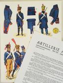 """L'ARMÉE FRANÇAISE Planche N° 28 : """"ARTILLERIE À PIED - 1804-1815"""" par Lucien ROUSSELOT et sa fiche explicative. (1)"""
