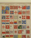 Photo 3 : DRAPEAUX DES BÂTIMENTS DE GUERRE NAVALS DES DIFFÉRENTES NATIONS 1789 : GRAVURE COULEURS, RÉVOLUTION.