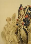 Photo 4 : EDMOND LAJOUX  - AQUARELLE ORIGINALE  JEUNE TAMBOUR RÉVOLUTIONNAIRE.