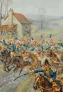 LELIÈPVRE Eugène (1908-2013) : CHARGE DES GARDES D'HONNEUR À MONTMIRAIL LE 11 FÉVRIER 1804, XX° SIÈCLE. (9)