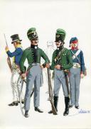PÉTARD MICHEL, PLANCHE ORIGINALE AQUARELLÉE : ROYAUME DE PRUSSE, CORPS FRANCS, 1806-1807, PREMIER EMPIRE.