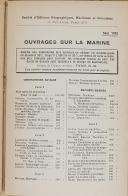 """Photo 5 : CHALLAMEL - """" Catalogue des ouvrages sur la marine """" - Paris - Mai 1952"""