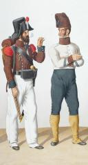 Photo 2 : 1815. Bataillons de Chasseurs Corses. Caporal-Tambour (1er Bataillon), Carabinier. Caporal de Chasseurs.