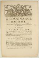ORDONNANCE DU ROY, pour augmenter d'un bataillon le régiment d'Infanterie de Montmorin. Du 25 août 1745. 3 pages (1)