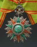 ÉTOILE DE COMMANDEUR DE L'ORDRE DE NICHAN AL IFTIKHAR - BEY MOHAMED ES SADOK 1859-1882, créée en 1837, modifié 1857, Troisième République.
