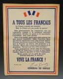 AFFICHE APPEL DU 18 JUIN DU GÉNÉRAL DE GAULLE ÉDITION DE 1944, Seconde Guerre Mondiale.