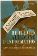 LIVRET DE PROMOTION POUR LE JOURNAL « PARISER ZEITUNG », Seconde Guerre Mondiale.