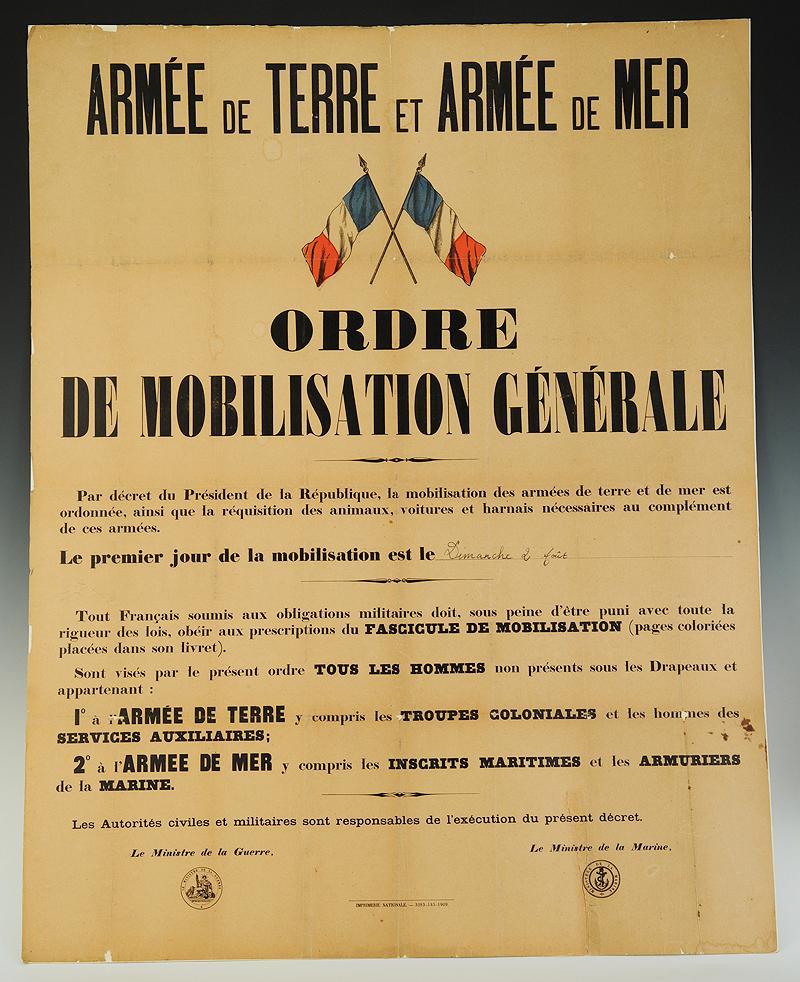 affiche d u0026 39 ordre de mobilisation g u00c9n u00c9rale de 1914  france