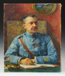 JEAN PLUMET, PORTRAIT D'UN COLONEL D'INFANTERIE 1920 : Huile sur toile, Première Guerre Mondiale - Troisième République.