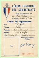 CARTE D'UN MEMBRE DE LA LÉGION FRANÇAISE DES COMBATTANTS, Seconde Guerre Mondiale.