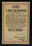 AFFICHETTE DE L'APPEL DU 18 JUIN DU GÉNÉRAL DE GAULLE ÉDITION DE 1944, Seconde Guerre Mondiale.