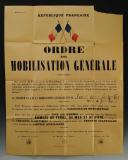 AFFICHE DE LA MOBILISATION DU 2 SEPTEMBRE 1939, Seconde Guerre Mondiale.