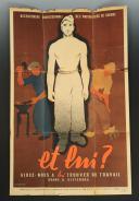 AFFICHE DE PROPAGANDE « RECENSEMENT PROFESSIONNEL DES PRISONNIERS DE GUERRE, ET LUI ? Aidez-nous à lui trouver du travail quand il reviendra », Seconde Guerre Mondiale.