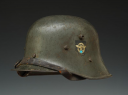 CASQUE D'ACIER AUTRICHIEN DOUBLE INSIGNE DE LA POLICE ALLEMANDE, III. Reich Polizei Stahlhelm M17 mit 2 Emblemen, modèle 1917, Seconde Guerre Mondiale.