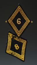 DEUX ÉCUSSONS D'UNITÉ DU 6ème ET 8ème RÉGIMENT DE CHASSEURS D'AFRIQUE, modèle 1945, Quatrième République - Cinquième République.