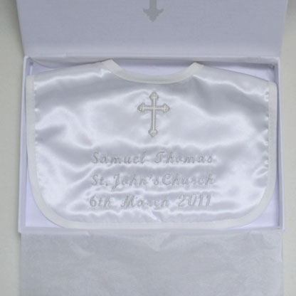 Photo of Christening Bib with Date in a Box