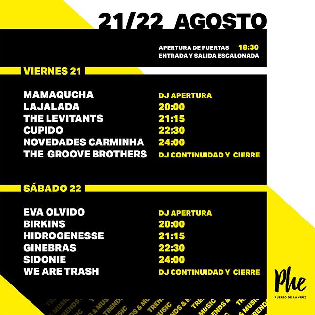 Horarios PHE Festival 2020