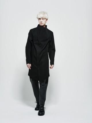 High neck structured long shirt black