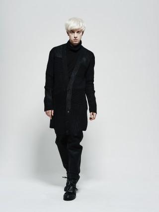 Asymmetrical texture coate knit cardigan