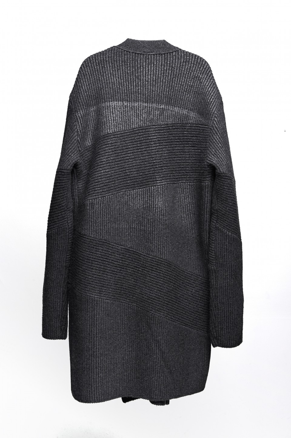 Asymmetrical texture coate knit cardigan