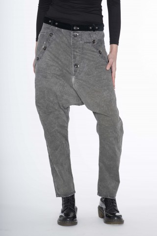 Grey low crotch pants