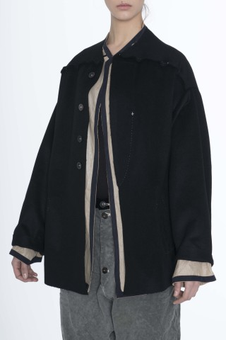 black short jacket with separate lining which can be wearable jacket it self