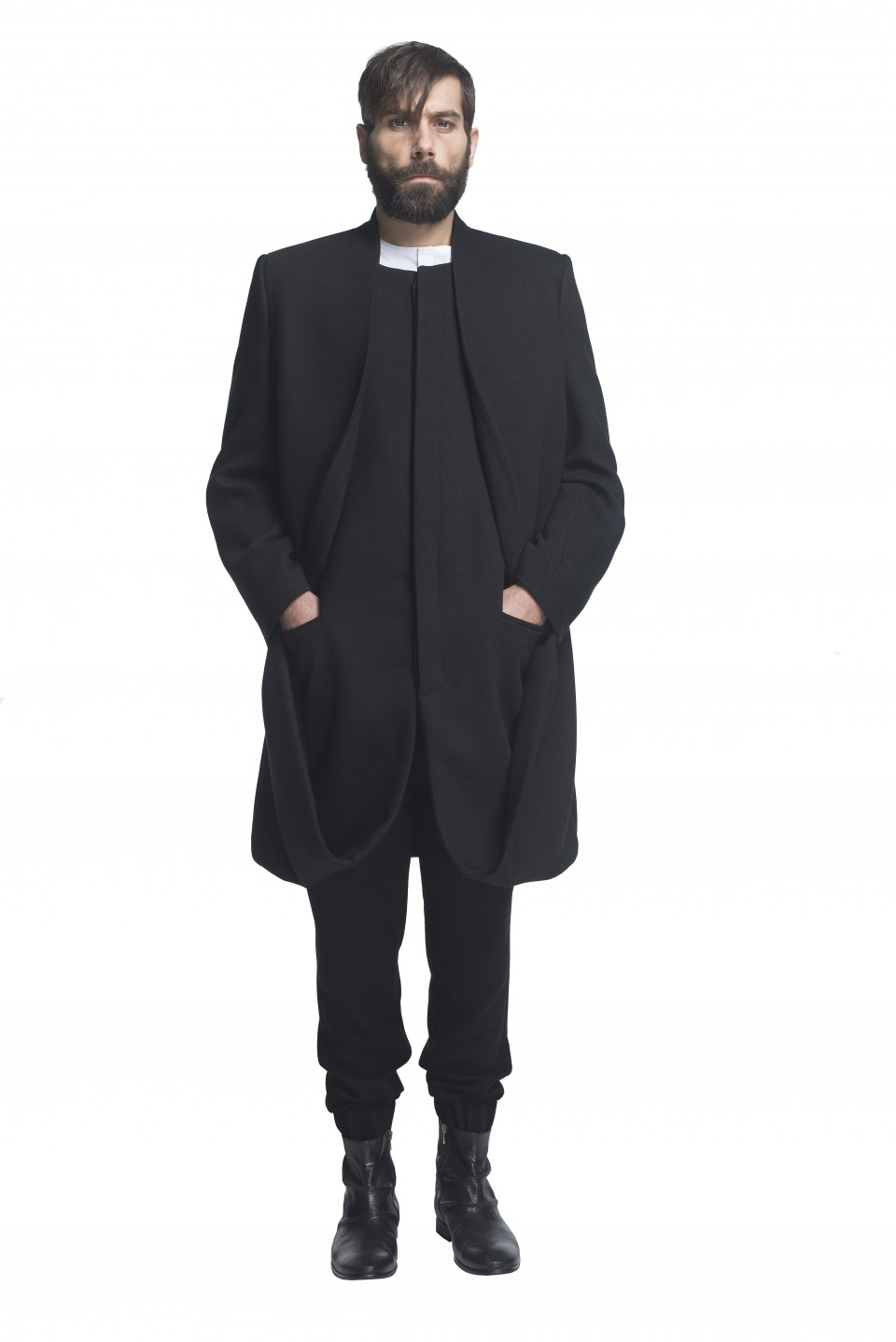 black bouble layer Coat