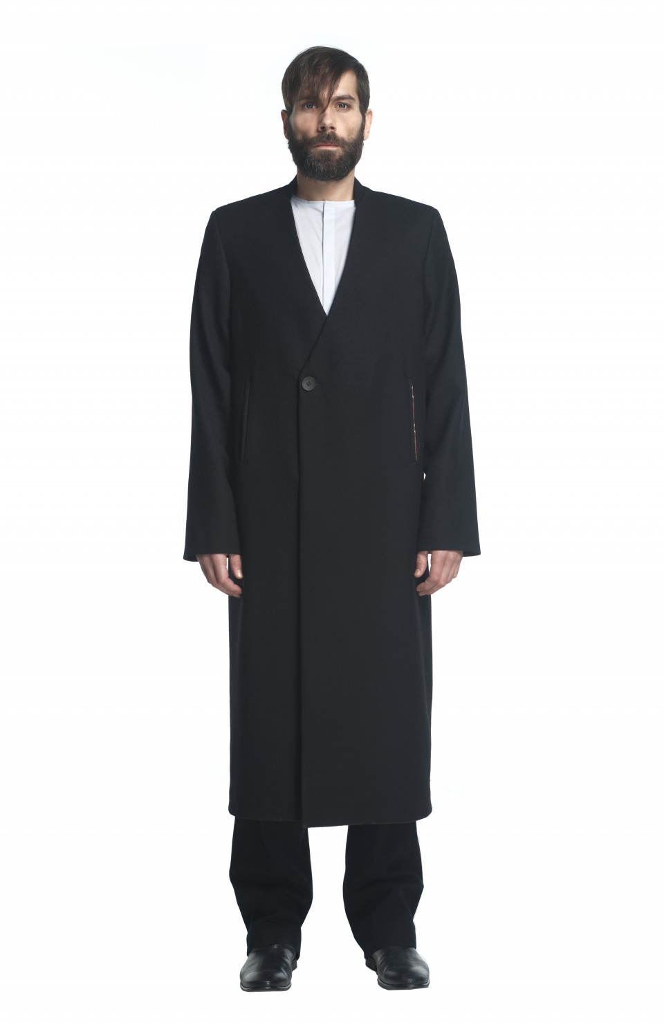 V neck black coat