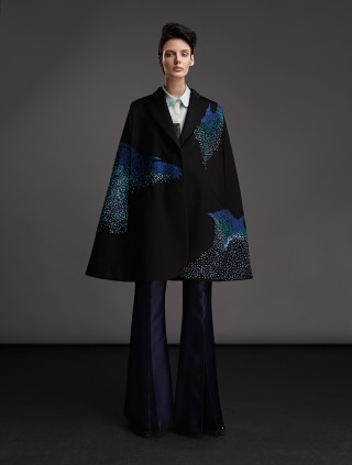 CASHMERE CAPE WITH EMBROIDERY