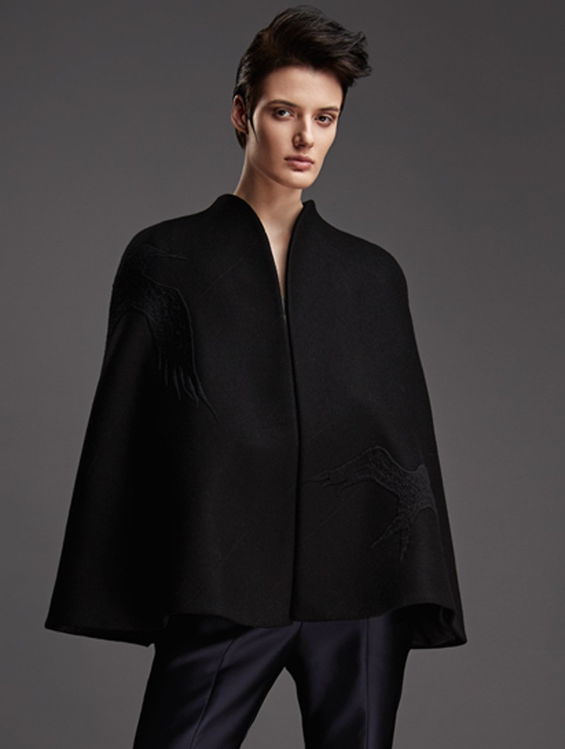WOOL CAPE WITH EMBROIDERY