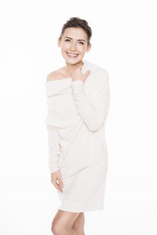 LeMuse Milk&Honey Asymmetric sweater - dress with metalic pearls
