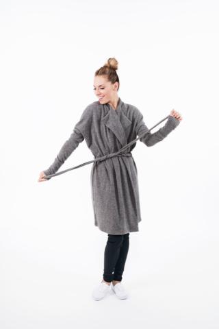 LeMuse Grey long wool cardigan