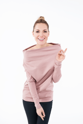 LeMuse CANDY dusty rose blouse with open shoulders