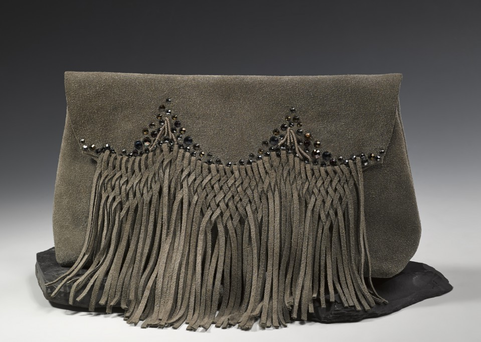 Fringe clutch-grey