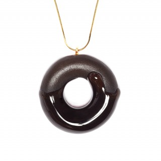 Cocoa Doughnut with Chocolate Glaze (with Gold-over Sterling Silver Chain)