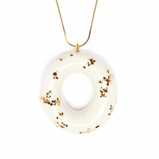 Milky Doughnut with Gold Sprinkles