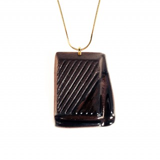 Slightly Melted Dark Chocolate (with Gold-over Sterling Silver Chain)