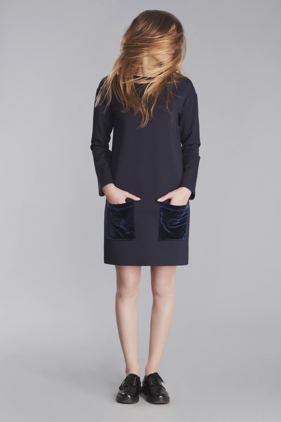 Straight navy dress with pockets