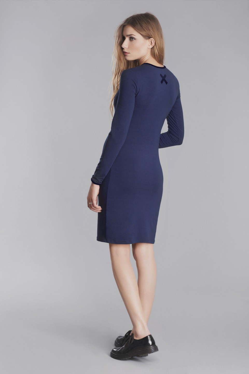 Navy bodycon dress with X application