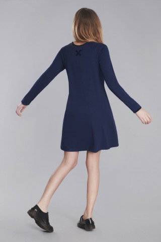 Navy swing dress with x application in back