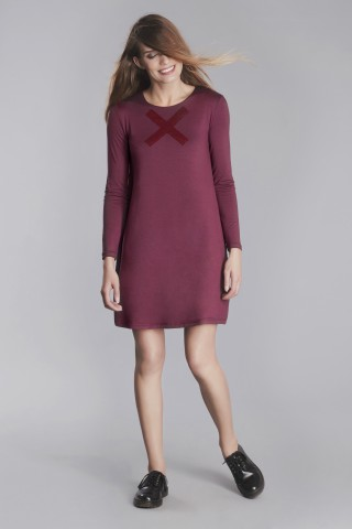 Marsala viscose swing dress with X application in front