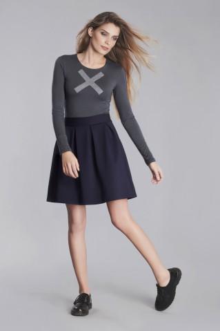 Navy pleated midi skirt with zipper