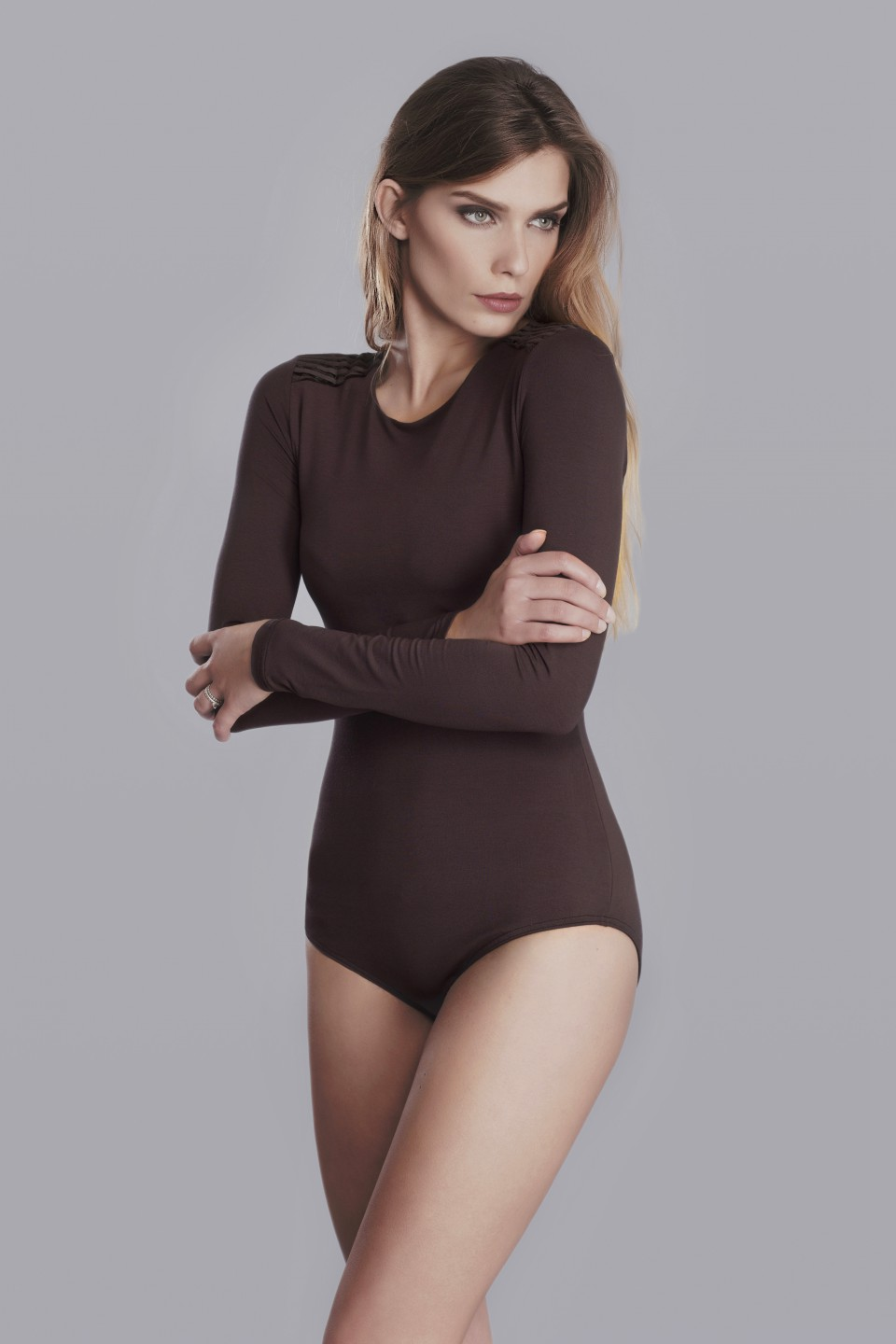 Chocolate bodysuit with shoulder application